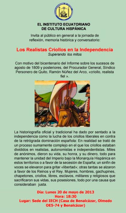 Los Realistas Criollos en la Independencia: Superando los mitos. Jornada de reflexión, memoria histórica y conversatorio este 20 de mayo.